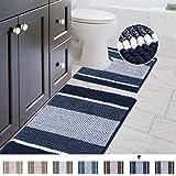 Shaggy 2 Piece Bath Rug Set (Ombre Navy) 20 x 20 U Shape Contour Rug & 20 x 32 Bathroom Rug Machine Wash/Dry Bath Mats for Ba