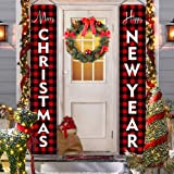 Christmas Decorations for Home - Modern Farmhouse Decor - MERRY CHRISTMAS HAPPY NEW YEAR Red Buffalo Check Plaid Porch Signs