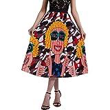 Minyue Women Pleated Skirt A Line High Waist Midi Skirt