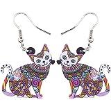 Acrylic Drop Dangle Cat Earrings Pets Novelty Funny Gift For Girl Kids Women By The Bonsny