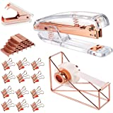 Rose Gold Office Supplies Set - Stapler, Tape Dispenser, Staple Remover with 1000 Staples and 12 Binder Clips, Luxury Acrylic