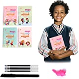 4pcs Sank Magic Practice Copybook for Kids - The Print Handwiriting Workbook-Reusable Writing Practice Book (Book with Pen) (