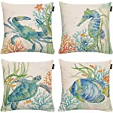 "GTEXT Set of 4 Aceent Throw Pillow Covers Throw Pillow Case Cushion Cover 18"" x 18"", Linen, 4 Pack Sea, 18 inch"