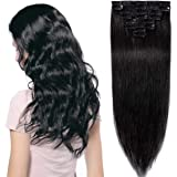 Hairro Clip in Human Hair Extensions Weft (#1 Jet Black) 100% Remy Human Hair Invisible Light Thin Long Straight Natural Hair