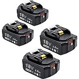 Akkopower マキタ 18V バッテリー 4個セット ライト付き残量表示でき BL1850B 互換バッテリー 5000mAh 大容量 4個セットPSE認証済 電動工具用バッテリー BL1830 BL1840 BL1850 BL1850B対応