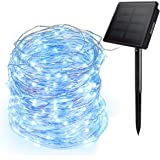 Ankway Solar String Lights Blue, 200 LED Fairy Lights 3-Strand Copper Wire Light 8 Modes 72 ft Outdoor String Lights Waterpro