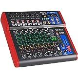 高音質! D Debra AudioProポータブルレコーディングミキサーオーディオ(USB 99 DSPデジタルエフェクト付き)DJミキサーコンソール用カラオケレコーディングスタジオ (SI-8UX (8 Channel))