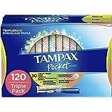 Tampax Pocket Pearl Plastic Tampons Regular/Super/Super Plus Multipack, Unscented, 34 Count, 4 Boxes, (Total 136 Count)