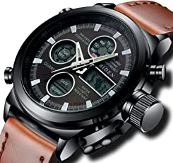 腕時計 メンズスポーツ時計 デジタルアナログクオーツ防水ウオッチブラック 曜日付け 日付カレンダー アラームク ロノグラフ多機能腕時計 LEDライト 夜光軍事時計