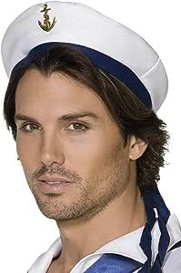 帽子 白 青 水平風 ヘアアクセサリー 大人男性用 Sailor Hat