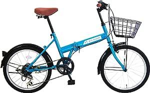 ACE BUDDY 206-4 カゴ付き折りたたみ自転車 20インチ 6段変速
