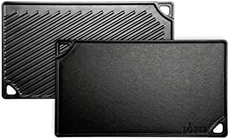 Lodge LDP3 Rectangular Cast Iron Reversible Grill/Griddle, Black