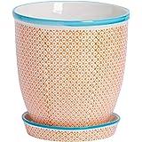 Nicola Spring Hand Printed Plant Pot - Ceramic Porcelain Indoor Outdoor Flower Display with Drip Tray - 20cm - Orange