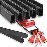 """J Channel Cable Raceways 96"""" - Black Raceway Cable Management System – 6x 16'' Cable Channels for Cord Management Under Desk."""