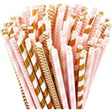 (Gold/Pink Straws) - Paper Straws, Pack of 100 Pink Straws/Gold Straws for Party Supplies, Birthday, Wedding, Bridal/Baby Sho