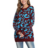 Aibrou Womens Crew Neck Long Sleeve Tunic Sweater Loose Casual Winter Pullover