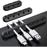 SOULWIT 3本入れ ケーブルホルダー ケーブルクリップ デスク コンピュータデスク USBデータケーブル マウスライン キーボードライン 充電ケーブル ヘッドフォンケーブルの整理に適し 片づけ 優れるシリコン 高品質 両面テープ [3 5 7穴