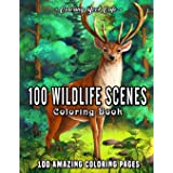 100 Wildlife Scenes: An Adult Coloring Book Featuring 100 Most Beautiful Wildlife Scenes with Animals, Birds and Flowers from