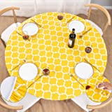 UMINEUX Round Fitted Vinyl Tablecloth with Elastic Edged & Flannel Backing, Waterproof Wipeable Round Table Cover for Indoor