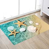 Beach Starfish Scallop Print Memory Foam Bath Rugs and doormats Non Slip Absorbent Super Cozy Flannel Bathroom Rug Carpet 24
