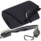 Aebor Golf Towels, Microfiber Waffle Pattern Tri-fold Golf Towel - Brush Tool Kit with Club Groove Cleaner, with Clip Men Wom