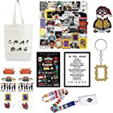 107 PCS Friends TV Show Fans Merchandise Gifts for Men and Women Birthday Housewarming Wedding Gift Idea Canvas Bag,Posters,S