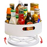 Lazy Susan Turntable Φ22.5cm x H6.4cm Condiment Holder, Plastic Revolving Condiments Rotating Spice Rack, Kitchen Storage Uni