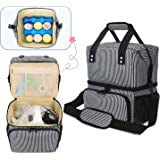 Luxja Breast Pump Bag with 2 Insulated Compartments for Breast Pump and Cooler Bag, Stripes