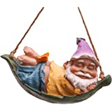 TERESA'S COLLECTIONS 7.3 Inch Funny Miniature Leaf Hammock Garden Gnomes Hanging Statues Dwarf Figurine for Lawn Patio Yard O