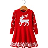 Little Girls Christmas Reindeer Snowflake Xmas Gifts Winter Knit Sweater Dresses