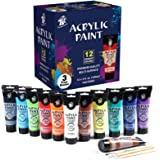 TBC The Best Crafts Acrylic Paint, 12 Colors(4 fl.oz/ 120ml) Tudes, Premium Quality Art Supply for Adults and Studens