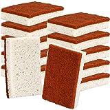 Natural Plant Based Scrub Sponge 12 Pack, Palm Fiber Scrubbing Sponge with Non Scratch Biodegradable Compostable Sponges,Dura