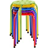 (Assorted Color) - Norwood Commercial Furniture NOR-1101AC-SO Plastic Stack Stools, 45cm Height, 30cm Width, 30cm Length, Ass