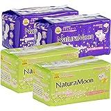 ナチュラムーン(NaturaMoon) 生理用ナプキン 羽つき×4パックセット(多い日の昼用羽つき2パック、多い日の夜用羽つき2パック)