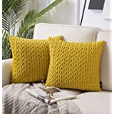 Phantoscope Pack of 2 Quilt Velvet Throw Pillow Covers Square Cushion Cover Pillowcase for Couch Bed and Chair, Yellow 18 x 1