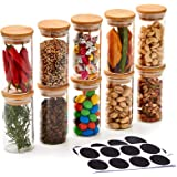 EZOWare 10 Bottles Glass Jar Set, Small Air Tight Canister Storage Containers with Natural Bamboo Lids and Chalkboard Labels