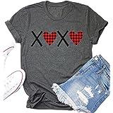 Buffalo Plaid XOXO Heart Shirt Womens Valentines Day T Shirt Girlfriend Short Sleeve Cute Graphic Tee Tops Wife Shirt