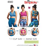 Simplicity Pattern 8560 Misses' Knit Sports Bras With Bodice Options SEWING PATTERN, Sizes 30A-44G