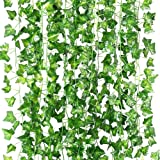 Artificial Ivy Garland, T Tersely 12 Strands (79 Feet) Artificial Ivy Garland Foliage Green Leaves Fake Hanging Vine Plant fo