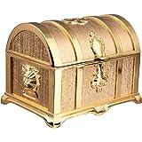 Feyarl 宝箱 ジュエリー箱 小物入れ 宝石箱 アンティーク箱 ジュエリーボックス ゴールド (L)