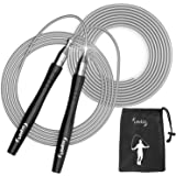Jump Rope – Premium Quality Blazing Fast Speed Rope, Weighted Jump Rope –Tangle-Free, Screw-Free Adjustable Jumping Rope (2 C