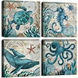 YOOOAHU 4 Piece Canvas Prints Home Wall Decor Art Ocean Watercolor Sea World Animal Home Sea Turtle Seahorse Whale Octopus Pi