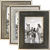 Tasse Verre Rustic Frames - Distressed Farmhouse Industrial Frame - Ready to Hang or Stand - Built-in Easel - Silver Galvaniz