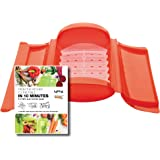 Lekue 3-4 Person Steam Case With Draining Tray and Bonus 10 Minute Cookbook, Red