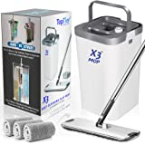 Top Tier Products X3 Flat Mop and Bucket System, 3-Chamber Design, Hands Free Self Cleaning System, 3 Washable & Reusable Mic
