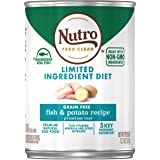 NUTRO Limited Ingredient Diet Adult Canned Soft Wet Dog Food Premium Loaf Fish & Potato Recipe, (12) 12.5 oz. Cans