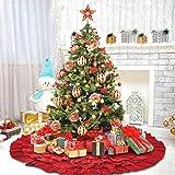 DegGod Red Christmas Tree Skirt, 50 Inches Burlap Natural Ruffled Xmas Tree Skirts Base Mat Christmas Home Party Decorations