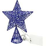 CVHOMEDECO. Blue Tree Top Star with Warm White LED Lights and Timer for Christmas Ornaments and Holiday Seasonal Décor, 8-Inc