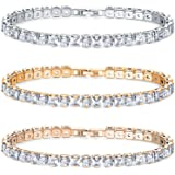 Savlano 3 Pack White, Yellow, Rose 14K Gold Plated Cubic Zirconia Princess Cut 3MM Classic Tennis Bracelet For Women