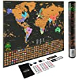 Scratch Off Map of The World – Deluxe Travel Map with US States and Country Flags, Tracks Where You Have Been, Full Accessori